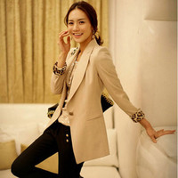 New Womens Suit Blazer Tops Outwear One-button Lapel OL Career Chic Elegant 4822