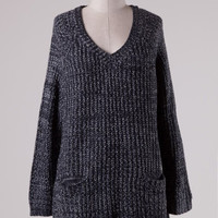 Patched Pocket Knit Oversized Sweater - Navy