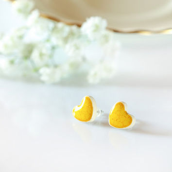 Heart earrings 10mm studs Yellow heart ceramic earrings Sterling silver Handmade studs Heart stud earrings Cute studs Young girls jewelry