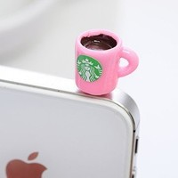 Dust Plug- Earphone Jack Accessories Lovely Starbucks Pink Coffee Cup Style/ Cell Charms / Ear Jack for Iphone 4 4s / Ipad / Ipod Touch / Other 3.5mm Ear Jack-FREE SHIPPING FROM NY