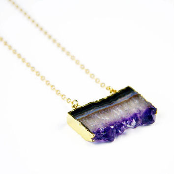 Amethyst Slice Necklace with Double Connectors  | Crystal & Druzy Jewellery by Aubergine Fox - Geode Jewelry, Purple Jewelry