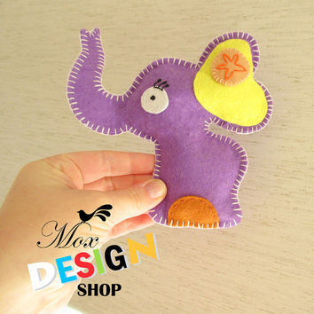 Stuffed Elephant PATTERN, Sew by Hand Felt Softie, PDF, Plush Pattern Est-Eng, Easy