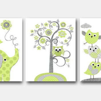Stickers for Wall Grey Green Elephant Giraffe Decor Canvas Nursery Print Baby Boy Wall Decor Kids Room Decor Kids Art Kids Wall Art Set of 3