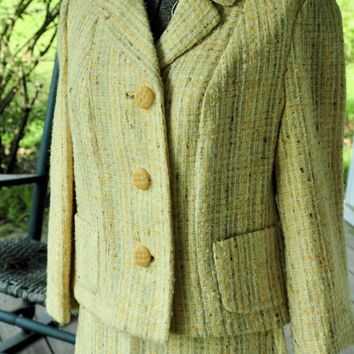 Unique 1950s Vintage Suit/ 1950s Vintage Wool Suit/ 50s Sunflower Yellow Wool Winter's Day Lady's Suit Petite Size S