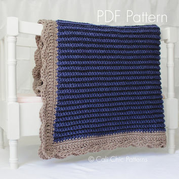 Crochet Blanket PATTERN 24 - Sweet Dreams - Crochet Baby Blanket PATTERN 24 - Denim Blue- Instant Download PDF