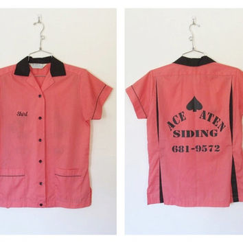 Women's Vintage Hilton Bowling Shirt / Embroidered Name Shirl / Pink and Black Rockabilly Button-down