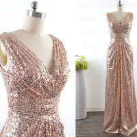 Sequin Long Bridesmaid Dresses, Couture Straps V neck Sequin Champagne Wedding Party Dresses, Sequin Long Formal Dresses