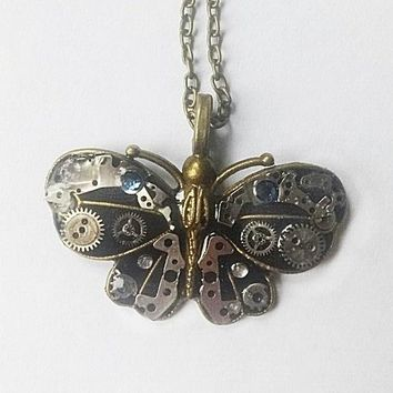 Watch Parts Butterfly Steampunk Necklace