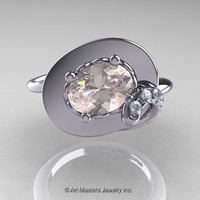 Art Nouveau 14K White Gold 1.0 Ct Oval Morganite Diamond Nature Inspired Engagement Ring R296-14KWGDMO