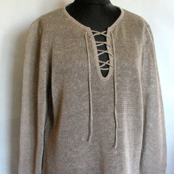 Man Gray Linen Shirt Top Sweater Clothing Natural Grey knitted summer