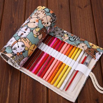 36/48/72 Holes Rolling Pen Case Pencil Box Bag Novelty Cat Makeup Storage Cosmetic Promotional Gift Stationery 3 Sizes