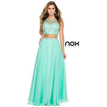 Two Piece Prom Gown Mint Green Chiffon Illusion Beaded Bodice