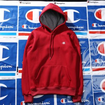 Champion Hoodies embroidery Basic classic multi-color plus velvet sweater Red