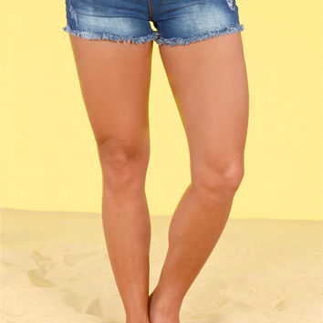 Festival Ready Frayed Denim Shorts - Dark Wash