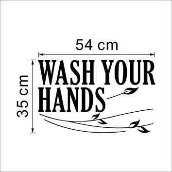 "Modern Characters "" WASH YOUR HANDS "" Wall Stickers Sticker Home Decor Decals Art Diy For Bathroom  PVC Black 35*54CM SM6"