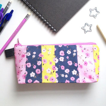 Floral Ditsy Flat Bottom Pencil Case (handmade philosophy's pattern)