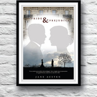 Pride and Prejudice, Jane Austen, Quote Poster, Movie poster, Typographic Print, Wall Decor, Literature Poster, Minimalist Print