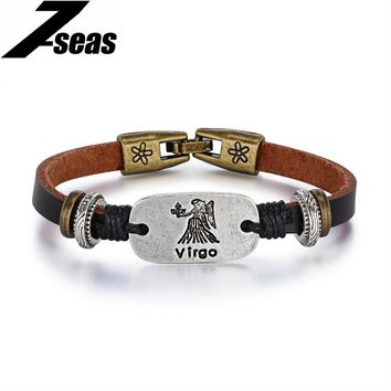 7SEAS Trendy 12 Constellations Bracelet Women/Men Jewelry Leather Charm Bracelets Male Zodiac Horoscope Signs Ladies Gift JM1188