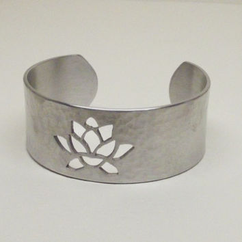 Ready to Ship- Yoga Inspired Lotus Flower Originally Designed Handcrafted Hammered Aluminum Metal Cutout Cuff Bracelet