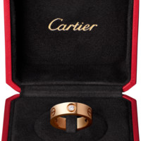 LOVE ring, 3 diamonds: LOVE ring, 18K pink gold, set with 3 brilliant-cut diamonds totaling 0.22 carat.