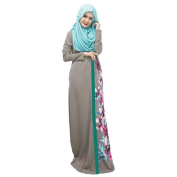 Elegant Spring Lady Kaftan Abaya Jilbab Islamic Muslim Floral Long Sleeve Maxi Dress
