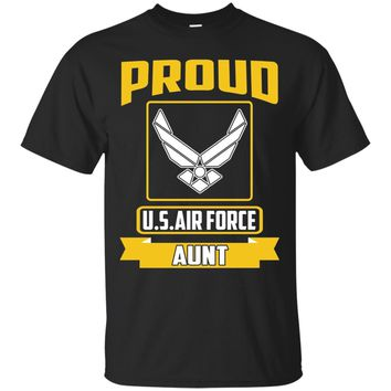 Military Cool Proudly US Air Force Aunt Ribbon Gift T-shirts