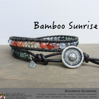 Bamboo Sunrise - Handmade Leather Wrap Layer Japanese Powerstone Metaphysical Bracelet by Off on a Whim - made in Japan -  custom order