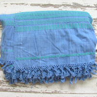 Vintage blue and turquoise Embroidered Ethnic Lap Blanket