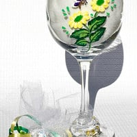 Wine Glass With Hand Painted Flowers and A Butterfly Charm, Valentines Day Gift, Mothers Day Gift, Birthday Gift, Graduation Gift
