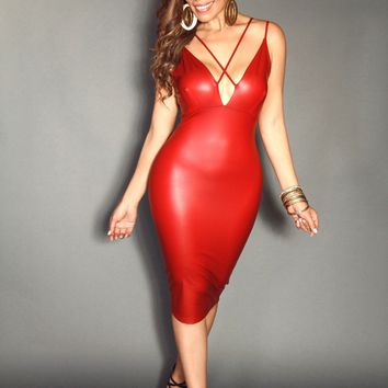 Red Faux Leather Strappy Plunge V-Neck With Back Cutout Detailing Sexy Midi Dress