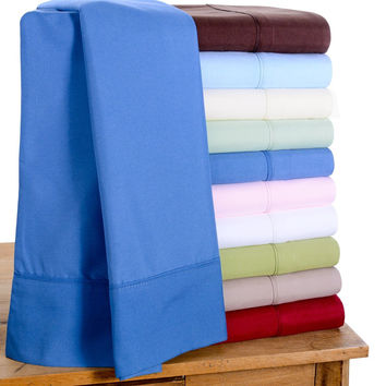 1800 Count Bamboo Egyptian Comfort Extra Soft Solid Bed Sheets 4 Piece Set - 8 Colors
