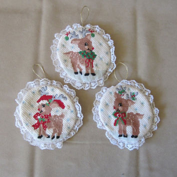 Vintage 80's Handmade Needlepoint Reindeer Christmas Ornament Set of 3, Unique Holiday Decor, Snowflakes, Lace, Tree Ornaments, OOAK Gift