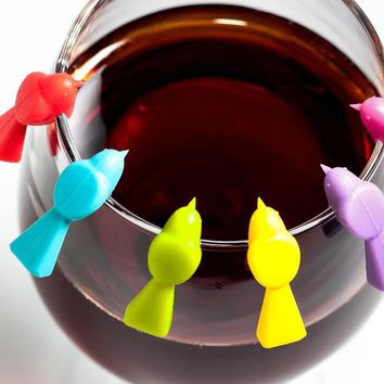 6 pcs/Set Wine Glass Marker Bird Label Party Wine Glass Bottle Drink Cup Marker Tags Wedding Party Decoration