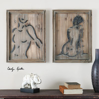 Silhouettes Wood Wall Art S/2