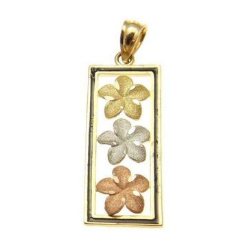 14K TRICOLOR GOLD HAWAIIAN 3 PLUMERIA VERTICAL PENDANT BLACK ENAMEL BORDER 9.8MM