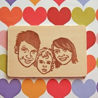 Hand Carved Custom Family Portrait Stamp -Stationery, Invitations, Thank You Cards, Christmas Cards-