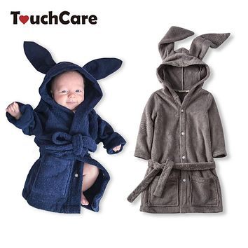 Baby Cute Rabbit Ears Velvet Robe Newborn Bathrobe Infant Boys Girls Coral Fleece Pajamas Toddler Sleepwear Clothes