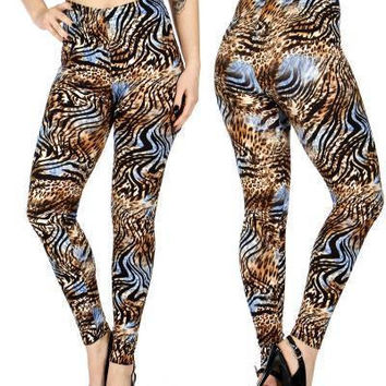 Multi tone animal print softbrush leggings PLUS SIZE