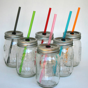Set of 6 Mason Jar Lid with Reusable Multi Colored Straw turn your mason jar into a glass