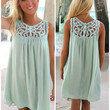 Cardiff Beach Sage Lace Neckline Crinkle Dress