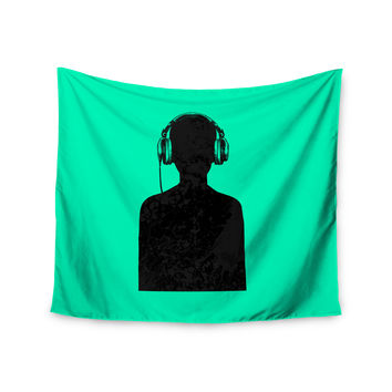 "BarmalisiRTB ""Black Music"" Turquoise Wall Tapestry"