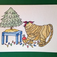 Christmas Card, Cats, Kitty Bargain #7 Original Watercolor Not a Print