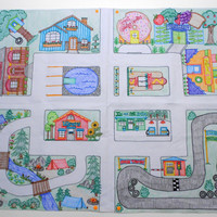 "Play Mat for Toy Cars: Mini Connectable Town | Classic Town Theme | Unique Birthday Gift Idea | Hotwheels Playmat | Matchbox | 36""x29"""
