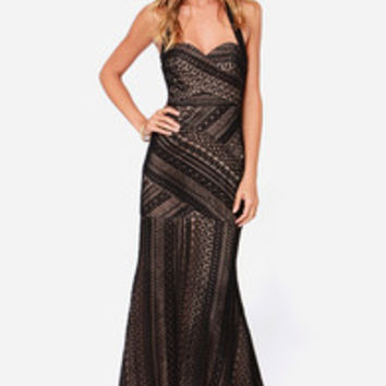 Bariano Belinda Black Lace Maxi Dress