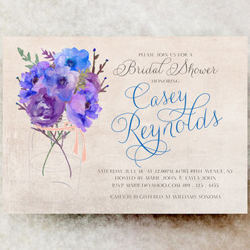 Mason Jar bridal shower invitation Blue - Cottage chic bridal shower, rustic bridal shower, country bridal shower, purple bridal shower