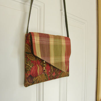 Small Cross Body Purse - Floral and Plaid - Red and Green