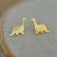 Dinosaur Stud Earrings - 18k Gold Plated - Animal Earrings - Dinosaur Earrings