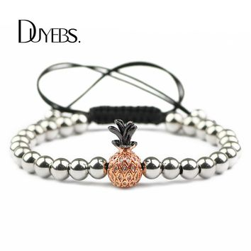 DUYEBS Pineapple Charms Men Bracelet 6mm Stainless Steel Bead Zircon CZ Braided Rope Rose Gold Color Women Trendy Bangle Jewelry