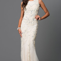 Pearl Detail Ivory Embroidered Prom Dress by Elizabeth K