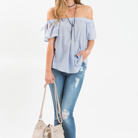 Judy Blue Off the Shoulder Striped Top
